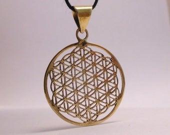 Brass pendant, flower of life