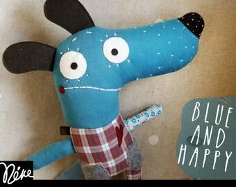 Stuffed dog toy, plush toy, stuffed animal, dachshund toy , children gift, baby gift. Original, unique, handmade blue dog. Textile.