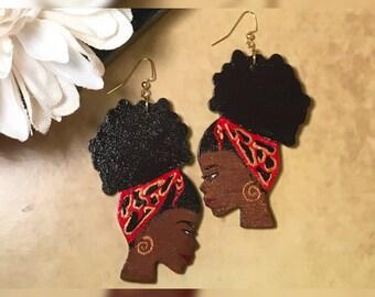 Wooden Afro Puff Earrings