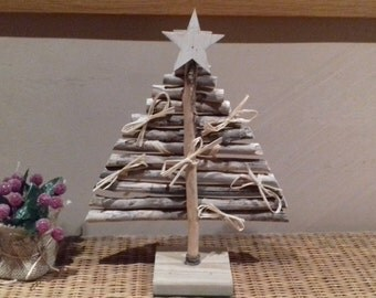 Natural Driftwood Christmas tree and raffia