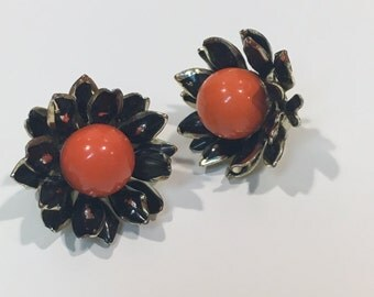 Vintage Coro dahlia clip on earrings FREE SHIPPING