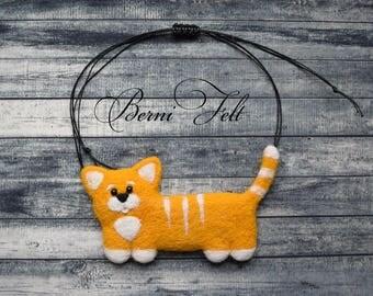 Cat Necklace, Wool Jewelry, Design Necklace, Felt Necklace