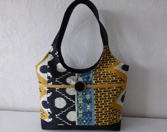 Handmade fabric, printed, ethnic, trendy bag, blue, black, handmade