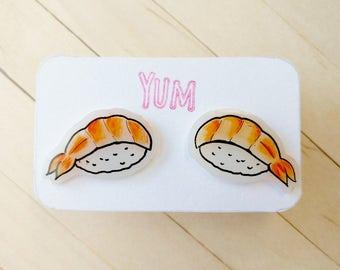 Shrimp sushi earrings, kawaii sushi lover gift idea, kawaii japan food earrings, kawaii earrings, cute earrings, funny earrings