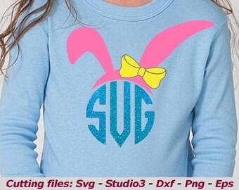 Bunny svg, Kids easter svg, Bunny monogram svg, Bow Easter svg, easter monogram svg, rabbit, Easter Bunny SVG DXF PNG,silhouette cricut file