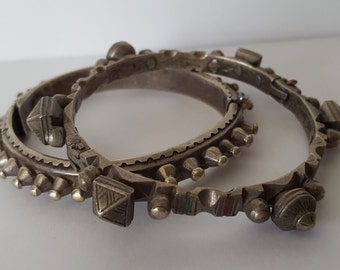 Antique Asian Silver Tribal Bracelets/Anklets, Antique Ethnic Jewelry, 94 grams