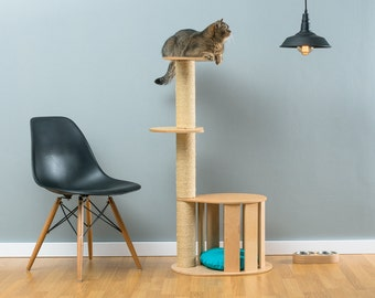 Cat house with sisal tree Cletis | WORLDWIDE SHIPPING | Modern Cat Furniture | Climb Tree | Shelf | Toy | Bed | House | Tower