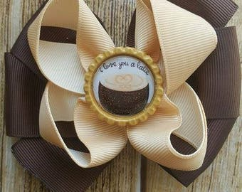 Love you a Latte Girls hair Bow  - Layered Ribbon Bow - Lined Clip Bow - Party Bow - Summer Bow - Girls Boutique Easter Bow