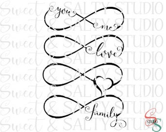 you & me, love, heart, family infinity digital file