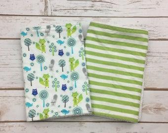 Baby Boy Animal Personalized Burp Cloth Set - Newborn Boy Baby Shower Gift - Set of 2 Baby Boy Burp Cloths  - Forest Animals