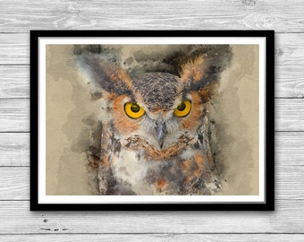 Owl Print, Watercolor Art Poster, Owl Painting Poster, Owl wall art, Owl Face, Homme decor, Cotton Canvas Print, Office decor, Bird Art