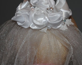 Satin Flower First Communion Headpiece with pearl and crystal details