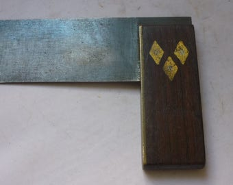 Antique try square Rosewood inlay tool oak inlay tool by Hibernia W.m Marples Sheffield c 1870