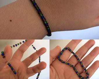 Simple but Sweet Magenta, Blue, and Green Patterned Glass Beaded Bracelet