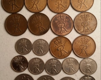 21 denmark vintage coins 1961 - 1969 - coin lot ore - world foreign collector money numismatic a95