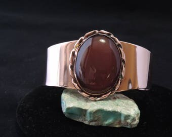 Copper and Carnelian Cuff Bracelet