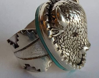 Sterling Silver and Turquoise Buffalo Head Ring