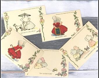 Unused Vintage Postcards -  Five (5) Sunbonnet Reproduction Postcards
