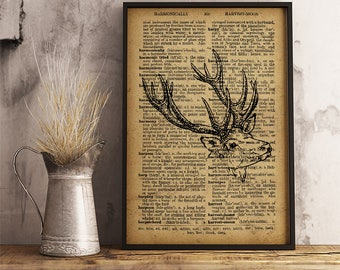 Stag print, Stag dictionary page vintage effect, Stag print vintage decoration, Hunter gift, Wild animal decor, Deer art paper print A33