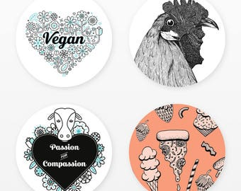 Vegan Sticker Pack | 4 Stickers |  Floral Heart, Chicken, Compassion Cow, Junk Food