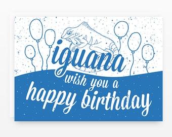 Iguana Wish You a Happy Birthday Card Set   5 Cards