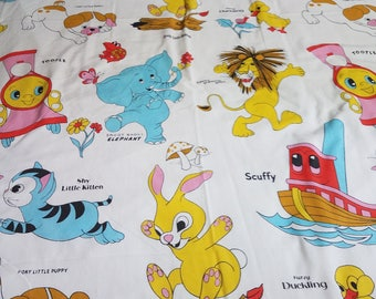 Vintage Little Golden Books Twin Flat Sheet 72 x 104 featuring Scuffy and Saggy Baggy Elephant, Poky Little Puppy and More!