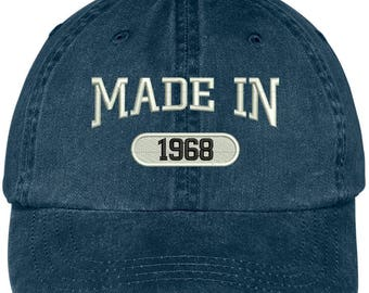 49th Birthday - Made In 1968 Embroidered Low Profile Washed Cotton Baseball Cap (LOG707-MGC-7601 )