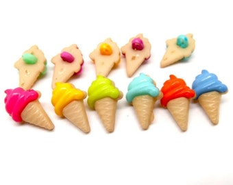 10 resin ice cream shaped buttons