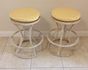 Vintage Wrapped Wicker Rattan Bar Stools Pair
