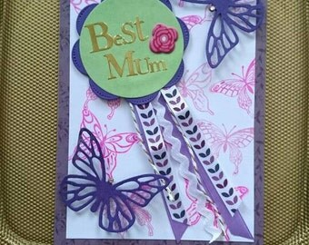 Mother's day card with butterflys in purple