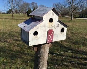 Birdhouse rustic barn style  house