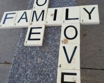 Scrabble Sign, Scripture, Personalize, Name, Rustic Sign, Love Sign, Family, Home,