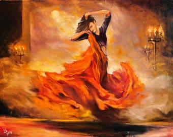 Large Oil Painting on Canvas Girl Flamenco Dancer Impressionism Original Artwork Conteporary Wall Art Deco Living Room Decor