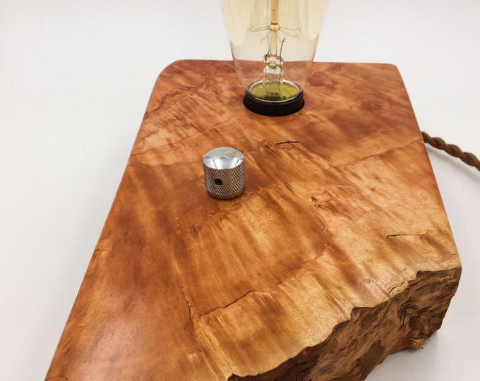 Hawaiian Lychee Wood Block Desk Lamp. Edison Bulb and Telecaster style On/Off switch. Industrial