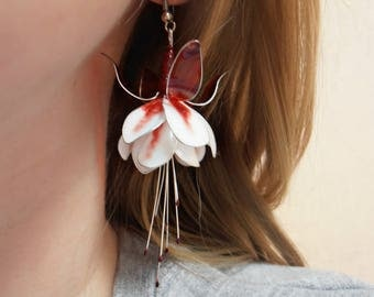 Red and White Fuchsia bridal earrings beautiful wedding flowers silver ear hook floral jewellery transparent leaves handmade gift for her