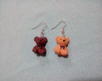 Set of earrings of funny teddy bears from Teddy with hook in silver