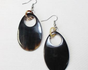 Buffalo horn earrings  - Beautiful horn jewelry vietnam KAI-2677