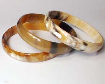 Set of 3 Horn bangle bracelet - Buffalo horn bangle - buffalo horn bracelet -  KAI-3715