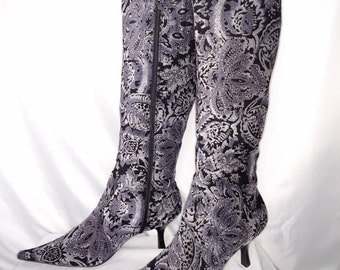 Velour Dress  Boots/Size 11 M Boots/Womens 90'S Grey Boots/Pointed Toe Boots/Boots With Zipper/Sparkling Paisley Boots/Nr.263