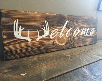 Welcome Antler Sign