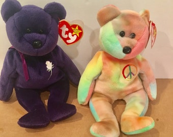 1997 Princess Diana Rare Purple Beanie Baby along with 1996 rare Peace Beanie Baby
