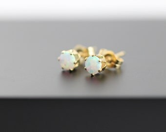 Tiny White Opal Stud Earring in 14kt Gold-Filled Setting