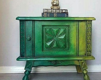 Unique one of a kind painted oak cupboard Annie Sloan ombre