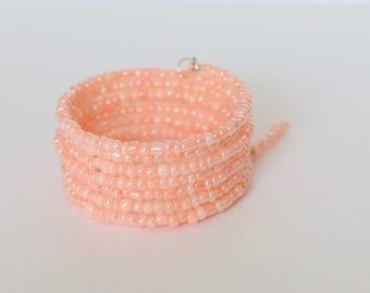 Ladies Bracelet, Wrap Bracelet, Eight times Wrap, Memory Wire Bangle, Jewellery, Bracelet, Beaded Memory Wire, Jewellery, Coral, Summer