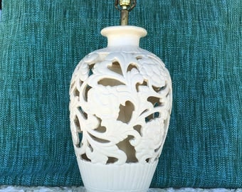 Vintage white Lamp, Large ceramic lamp with cut outs, accent lamp, table lamp, accent lighting