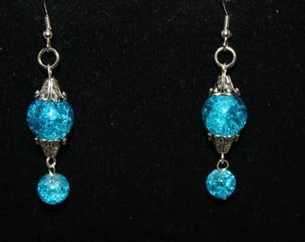 Blue Dangle Earrings Handmade Dangle Earrings Blue Crackle Mason Jar Color Artisan Silver Long Dangle