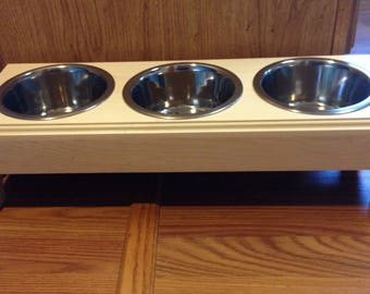 Raised 3 (4 cup)Bowls Pet Feeder,Handmade Wooden For Dogs