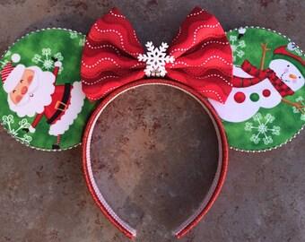 Santa and Snowman christmas Minnie Mouse christmas Mickey Mouse Ears