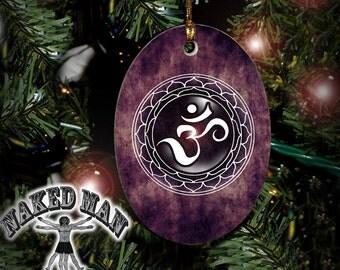 Om Lotus Ornament, Sacred Geometry, Mandala Porcelain with Gold Cord