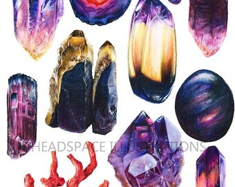 Amethyst Labradorite Coral Citrine Tourmaline Agate Slice Crystal Quartz Drawing Colored Pencil Art Print by Headspace Illustrations
